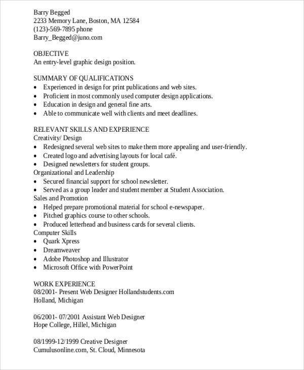 Entry Level Graphic Designer  Senior Graphic Designer Resume