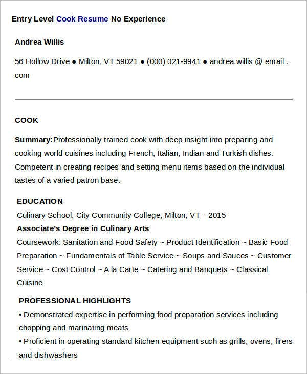 Marvelous Entry Level Cook Resume