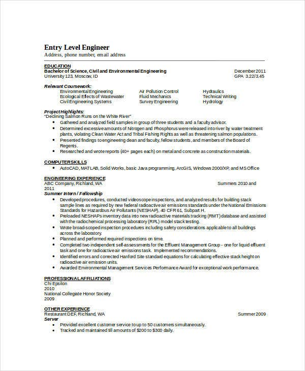 entry level engineering resume