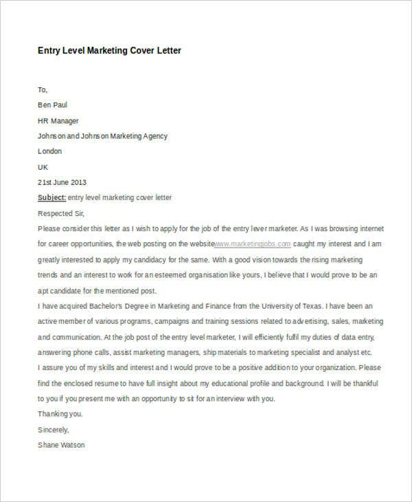11 Marketing Cover Letter Templates Free Sample