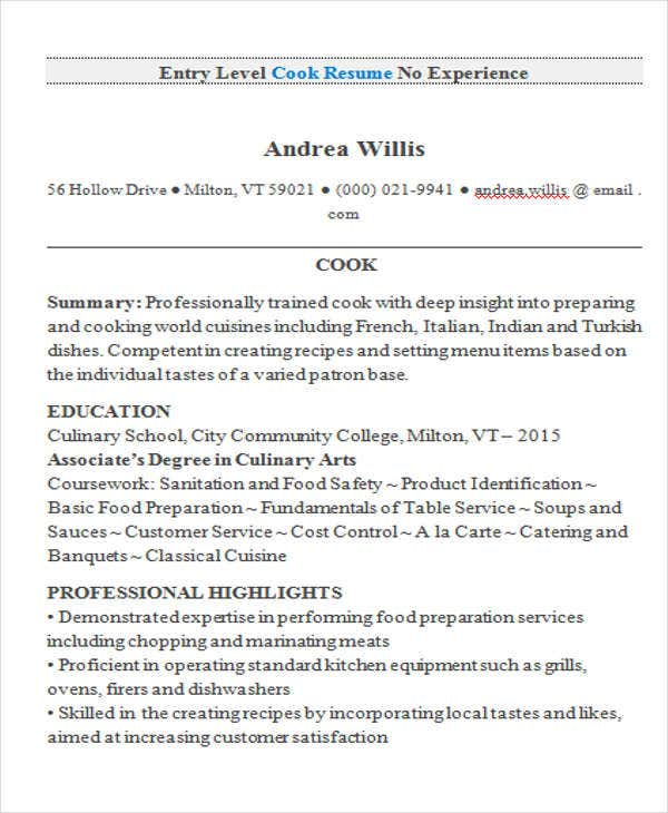 Entry Level Cook Resume Resume2