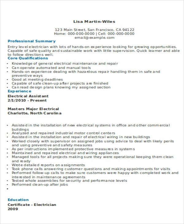 10 electrician resume templates free sample example format