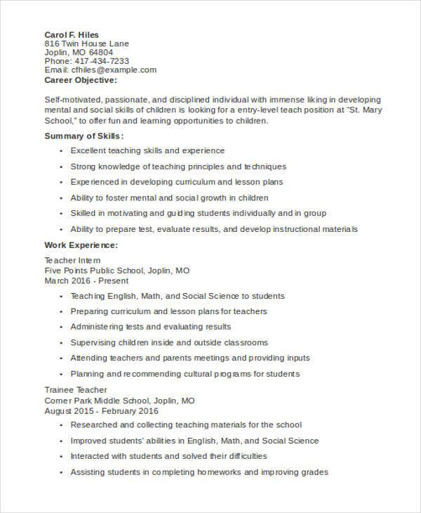 Entry Level Teaching Resume Template