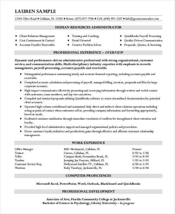 10 hr resumes free samples examples format download free