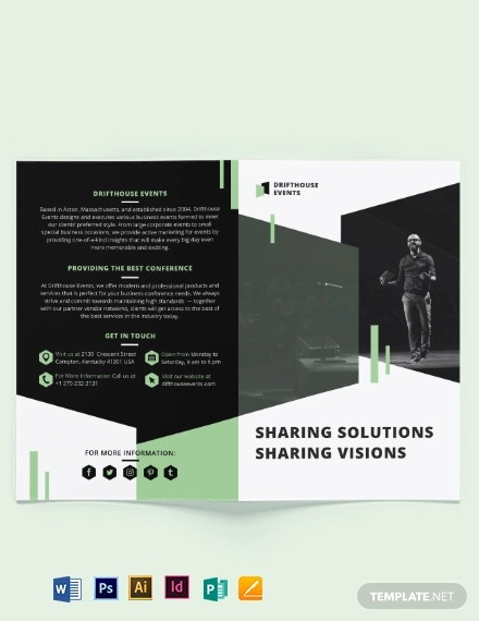 event conference bi fold brochure template
