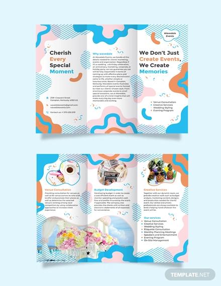 event service tri fold brochure template