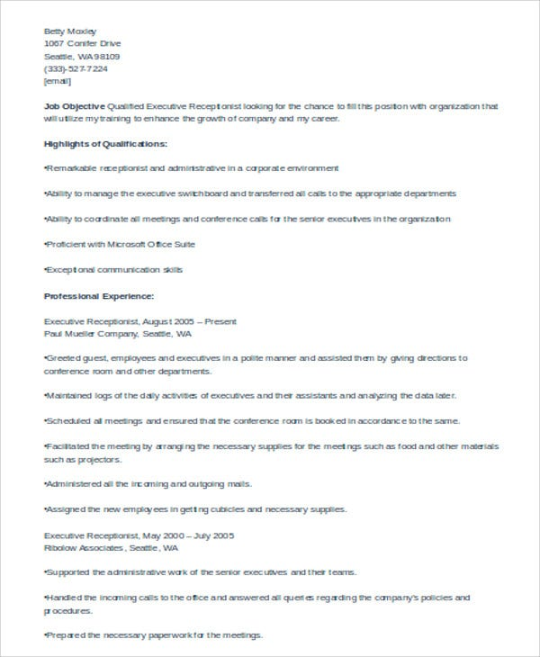 executive receptionist curriculum vitae