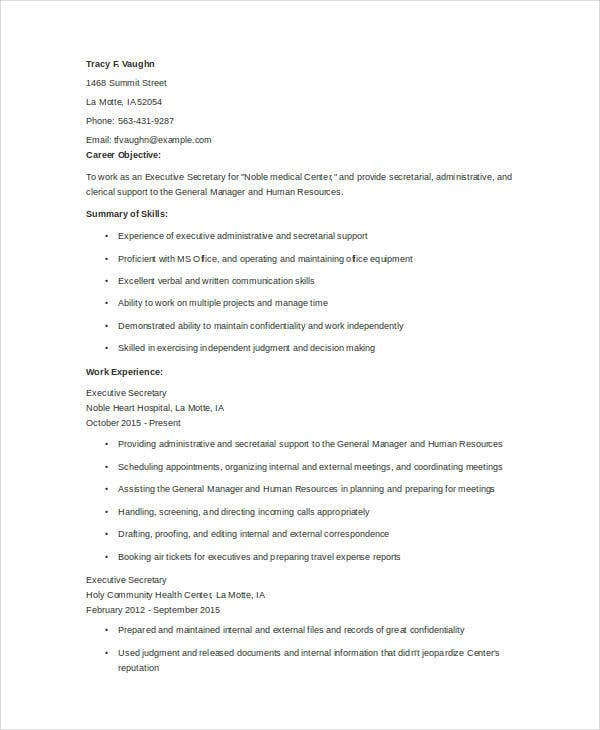 executive secretary resume format