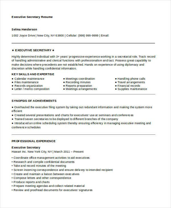 Executive Secretary  Executive Secretary Resume