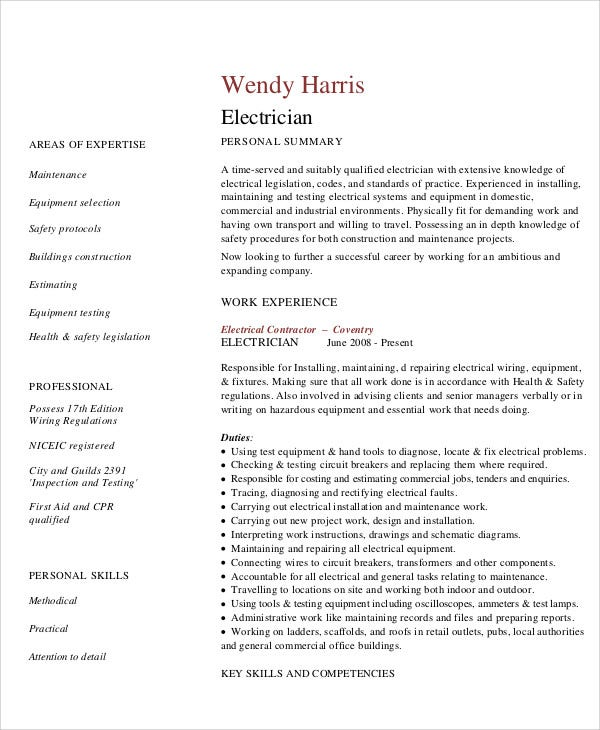 10 electrician resume templates free sample example