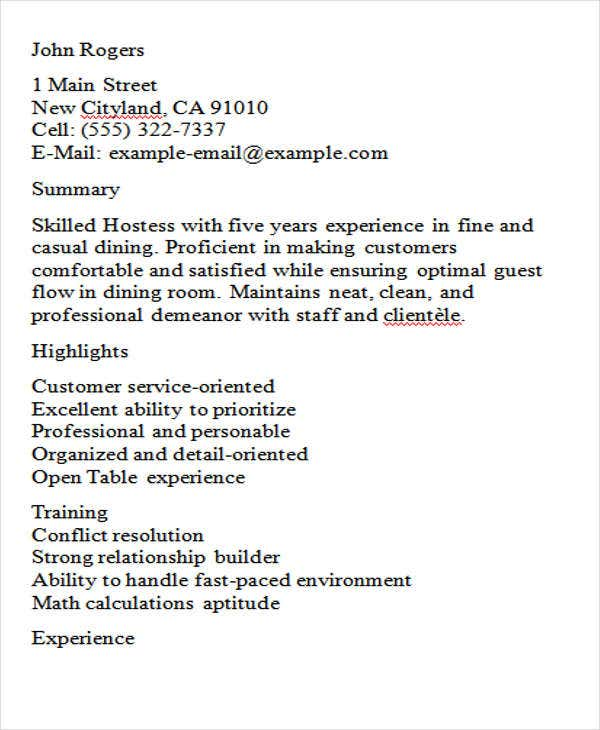 experienced hostess