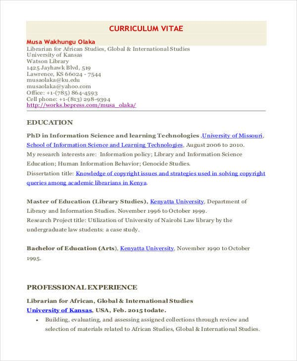 chronological resume sample academic librarian pg2 chronological resume sample academic librarian - Sample School Librarian Resume