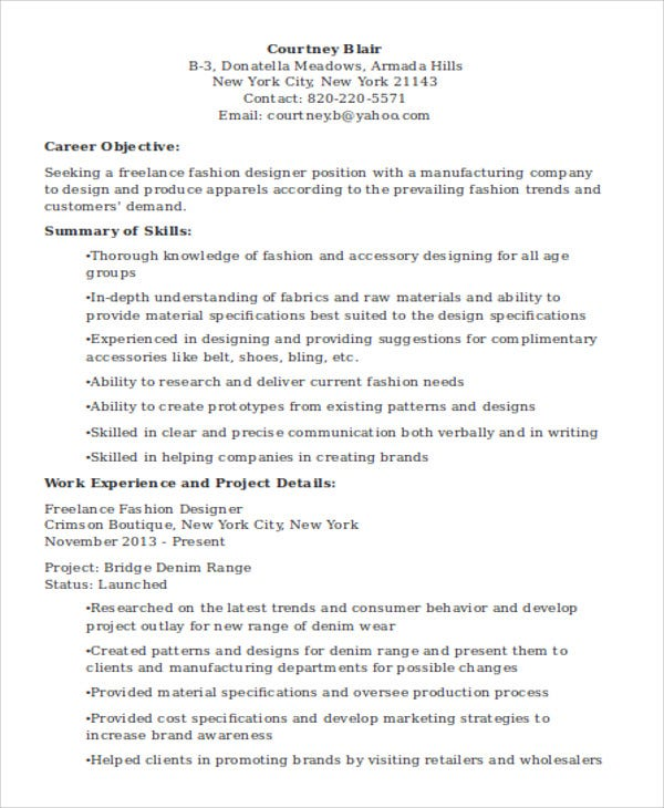 fashion designer resume1
