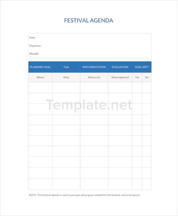 Festival Agenda Sample