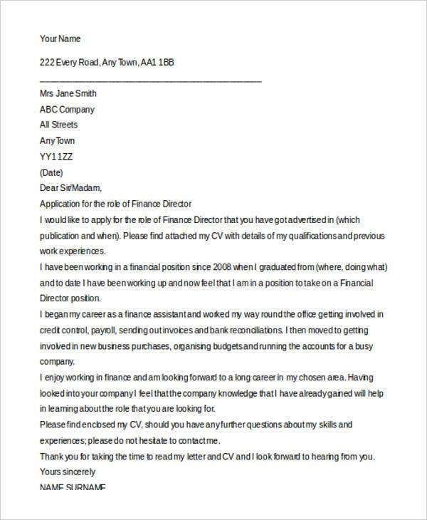 9 finance cover letters free sample example format download finance director spiritdancerdesigns Images