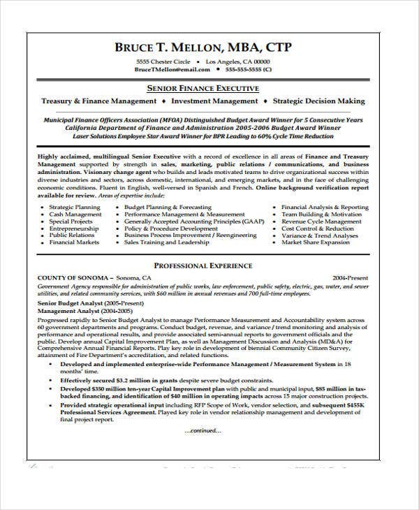 financial management resume