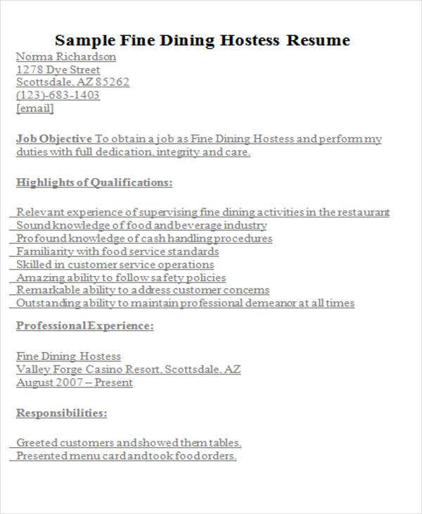 9 hostess resume templates free sample example format download