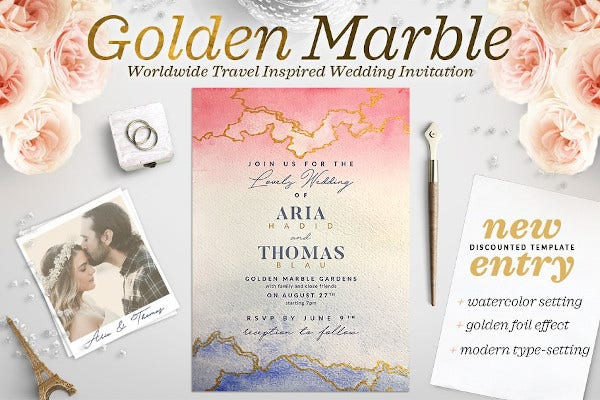 flash golden marble wedding invitation card