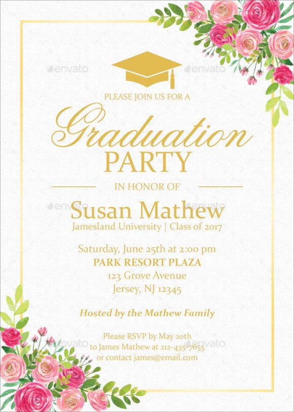 floral graduation party invitation