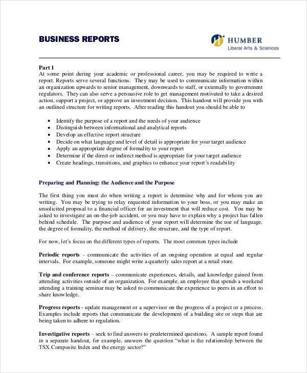 Formal Report Format. Formal Business  Business Trip Report Format
