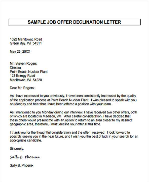 formal employment rejection letter