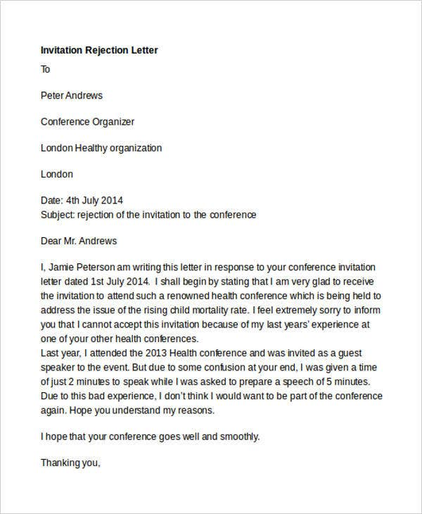 21 rejection letter templates free premium templates formal conference invitation rejection stopboris Image collections