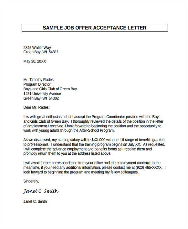 formal job offer acceptance letter