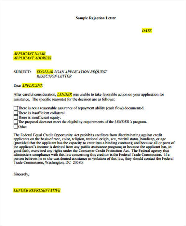 Loan Rejection Letters   Free Sample Example Format Download