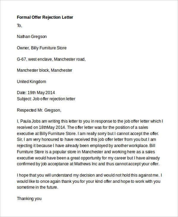 7 Formal Rejection Letter Templates Free Word Pdf