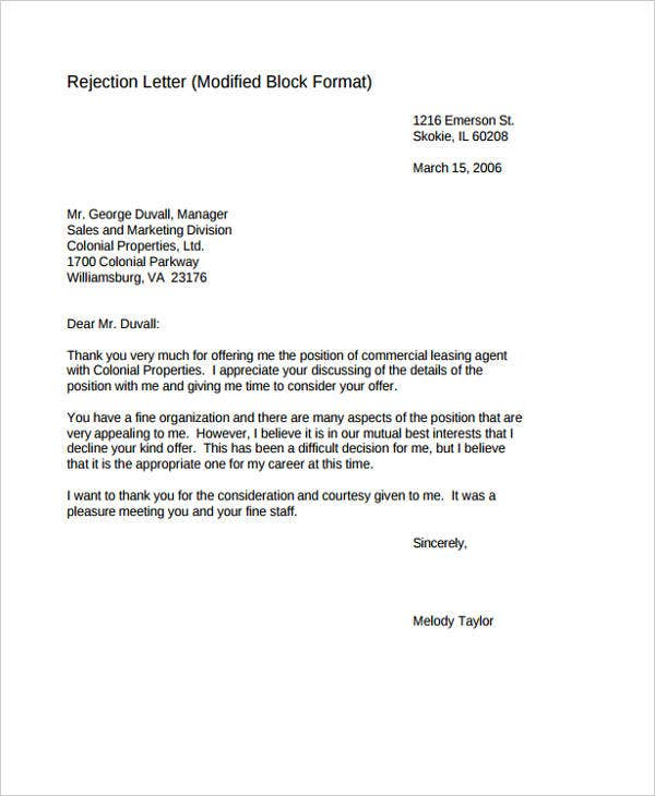 7 bid rejection letters free sample example format download formal rejection letter stopboris Gallery