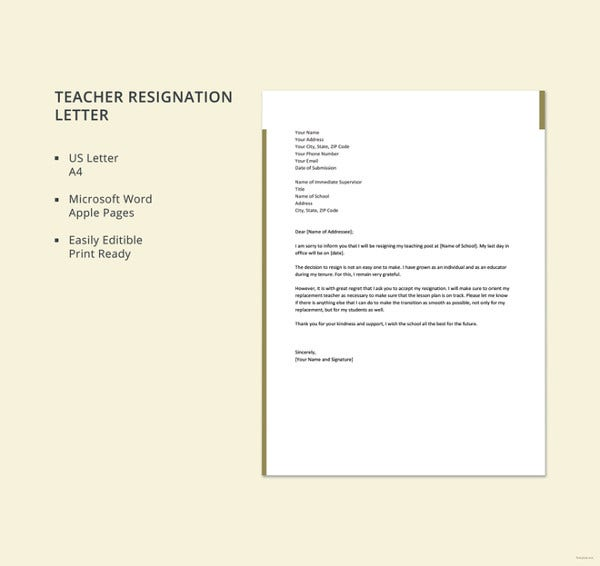 formal teacher resignation letter1