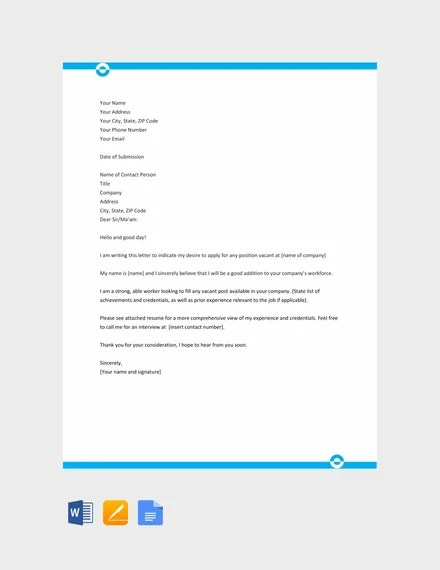 free application letter template sample for any position1