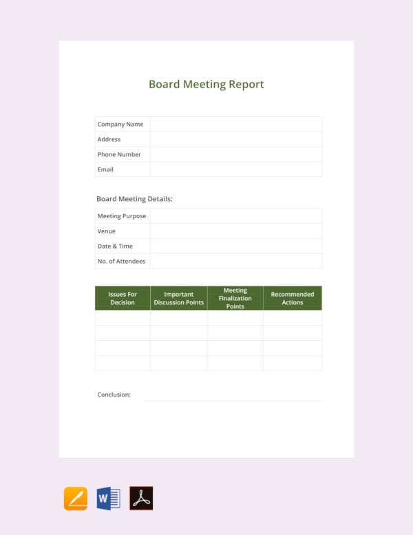 free board meeting report template