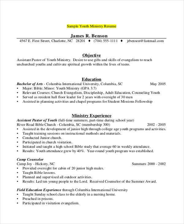 free camp counselor - Sample Pastoral Resume