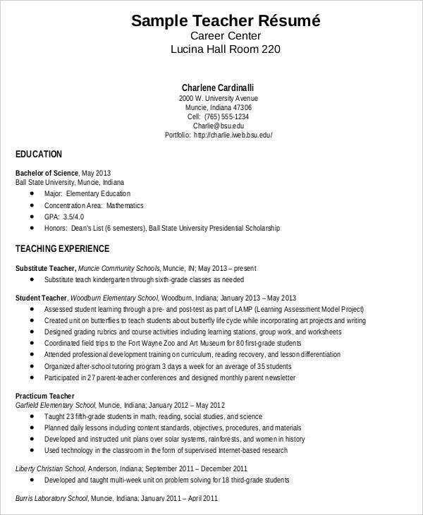 Free Elementary Teacher Resume  Sample Teaching Resume