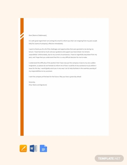 free email resignation letter without notice period template