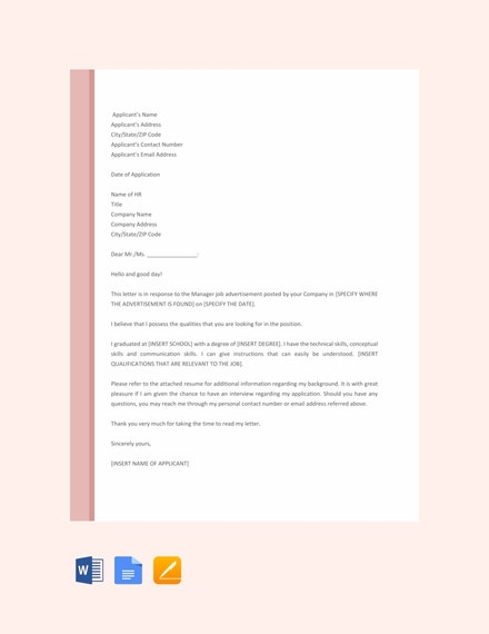free manager job application letter template