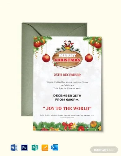 free merry christmas invitation flyer template