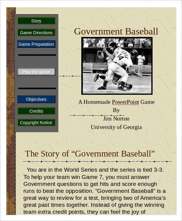 Baseball Powerpoint Templates  Free Sample Example Format
