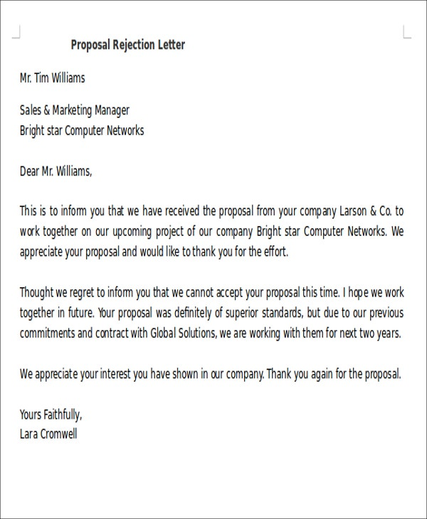 Proposal Rejection Letters   Free Sample Example Format Download