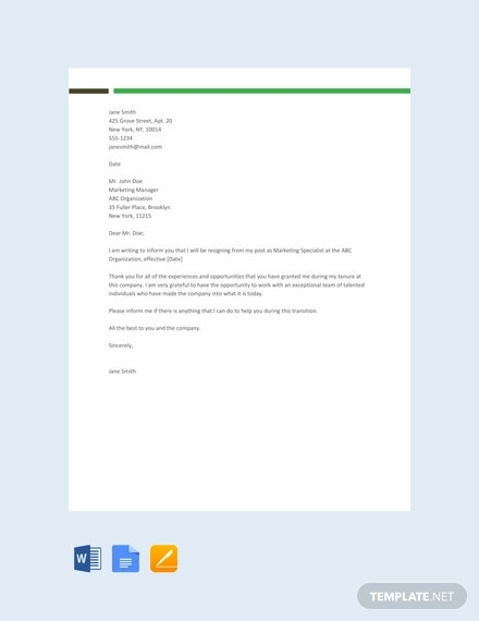 free sample resignation letter template1