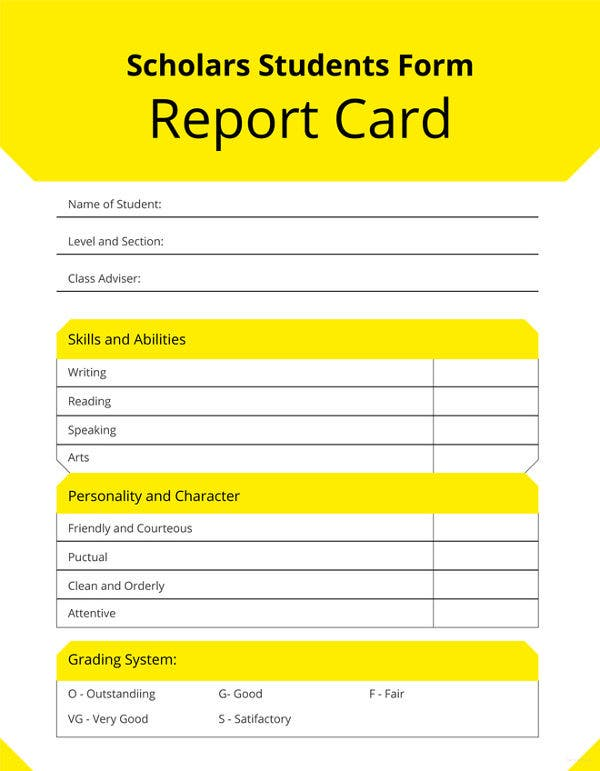 free student report card template