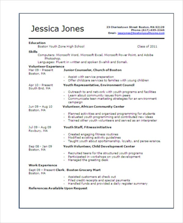 free teenage resume template - Resume Templates For Teenagers