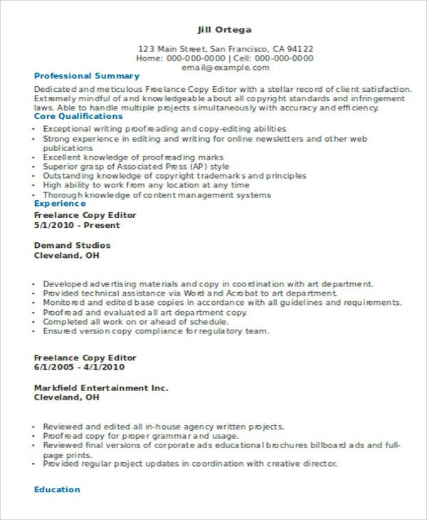 Freelance Copy Editor Resume Template
