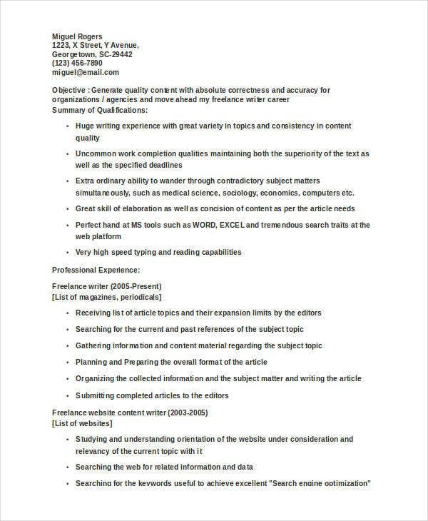 freelance writer - Freelance Writer Resume Sample