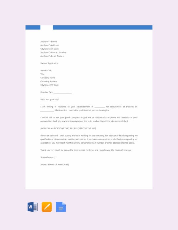 11 Sample Job Application Letters For Fresher Graduates Pdf Word Free Premium Templates