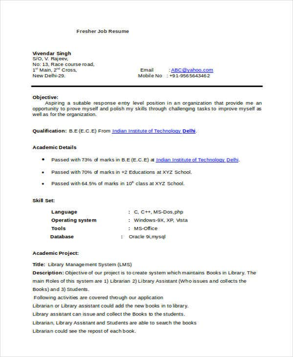 fresher job resume format