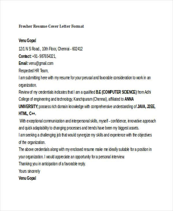 fresher resume cover letter format