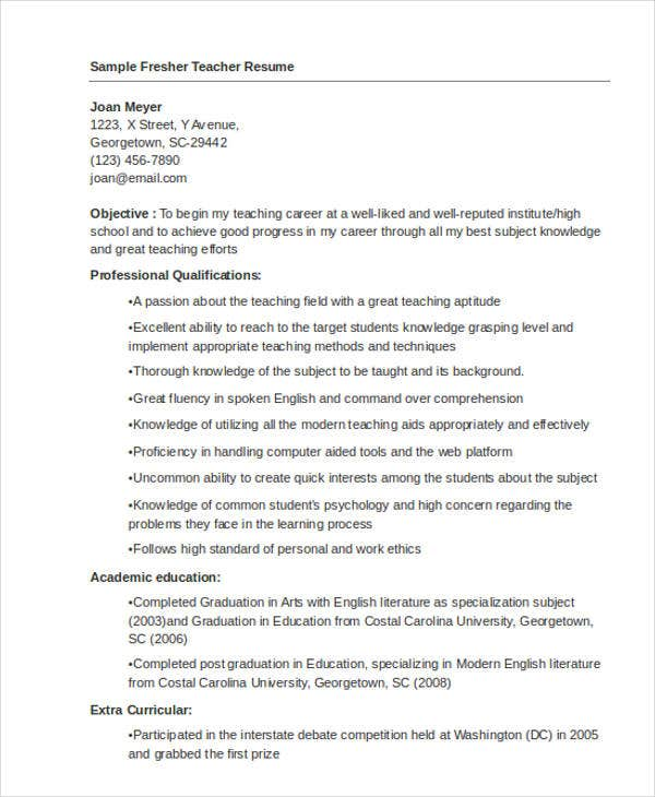 fresher teacher resume format1