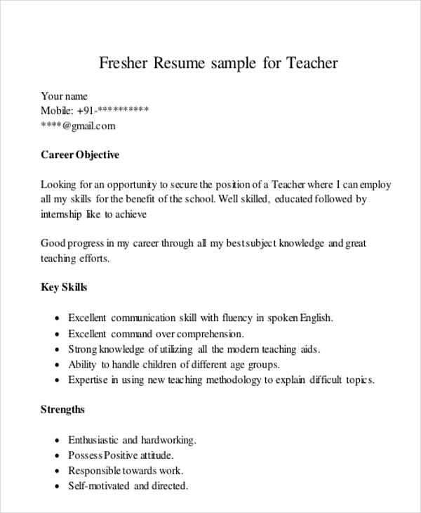 Key Skills For Resume Fresher Teacher Best Resume Examples